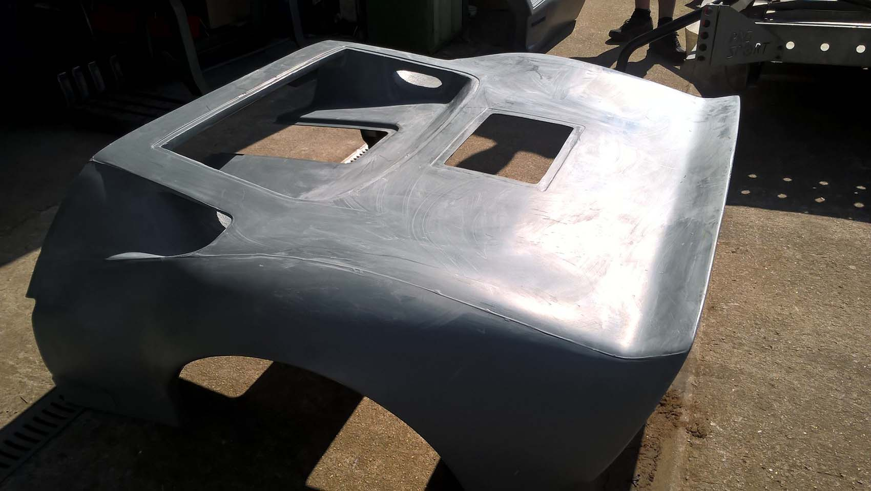 GT40 rear body panel in grey Gel coat (dull finish ready for preparation for paint)